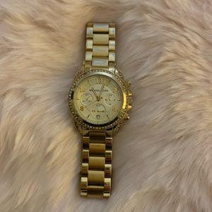 Michael Kors Yellow Gold Face Watch Diamond Dial